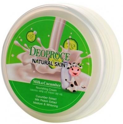 Крем для лица и тела с огурцом и молоком DEOPROCE Natural skin nourishing cream milk cucumber 100г: фото