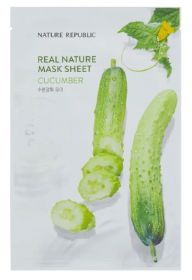 Маска тканевая с огурцом NATURE REPUBLIC REAL NATURE CUCUMBER MASK SHEET 23г: фото