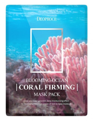 Набор тканевых масок с кораллом DEOPROCE BLOOMING OCEAN CORAL FIRMING MASK PACK 25г*5: фото